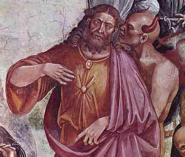 Representación de Luca Signorelli de 1501 del rostro del Anticristo en la Catedral de Orvieto, Italia. (Luca Signorelli / Dominio público)