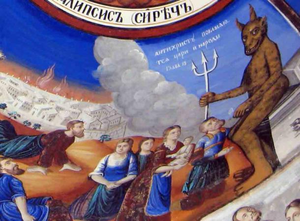 El Anticristo claramente representado en un fresco del Monasterio de Osogovo, República de Macedonia. (Edal Anton Lefterov / CC BY-SA 3.0)