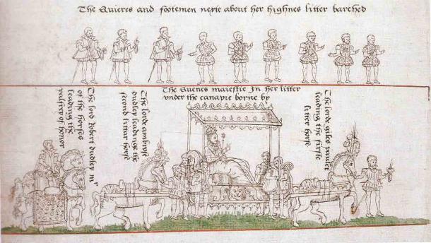 La procesión de coronación de la reina Isabel I de Inglaterra, 1559 d.C., con Robert Dudley en la retaguardia, considerada la posición más alta después de la propia reina. (Dominio público)