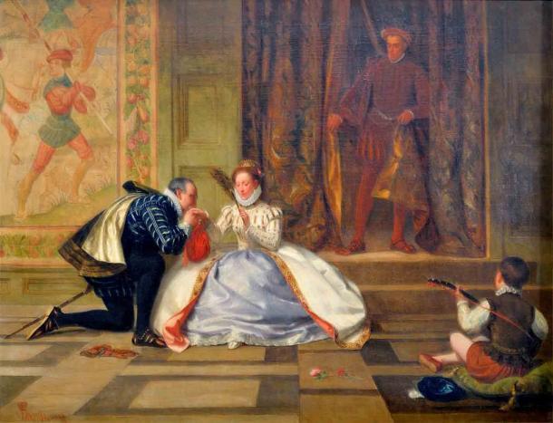 La muerte de Amy Robsart no puso fin a las ambiciones de Robert Dudley, ni lo alejó por completo del favor de la reina Isabel I. (William Frederick Yeames / Dominio público)