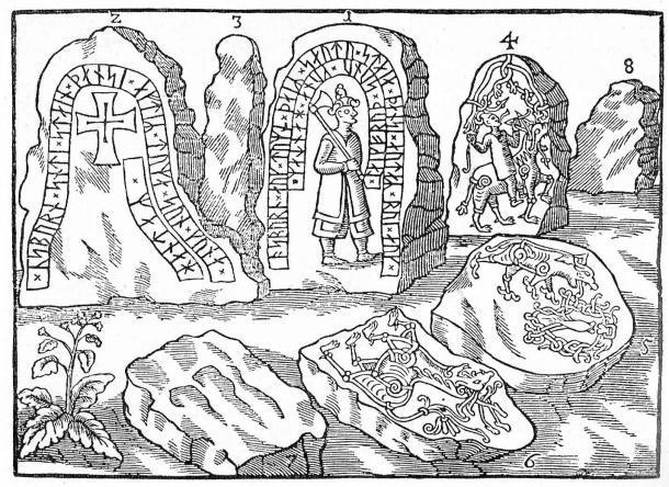 El famoso dibujo del Monumento a Hunnestad de Ole Worm (Ole Worm (1588-1654) / Dominio público)