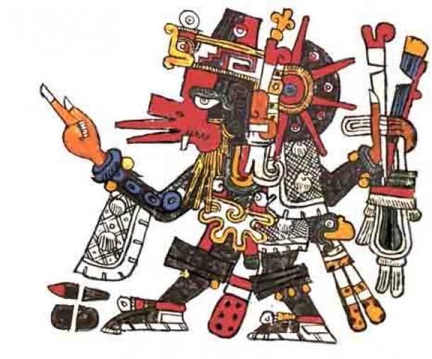 Quetzalcóatl usa los atributos de Ehecatl el dios del viento, representando así los vientos que traen la lluvia. Del Codex Borgia. (Dominio público)