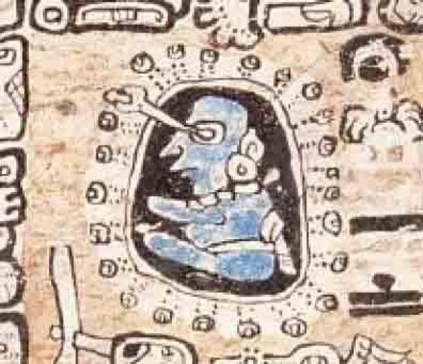 Representación de un astrónomo maya de la página 34 del Códice de Madrid. (Dominio público)