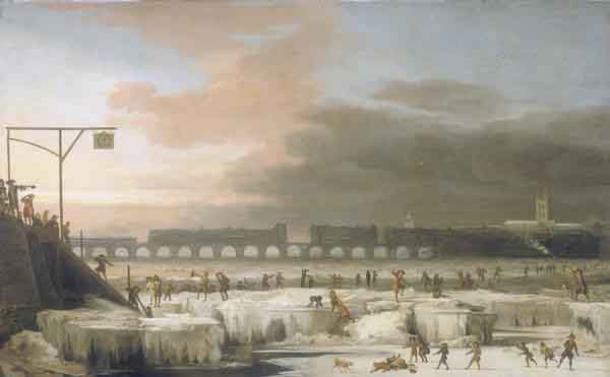 El río Támesis helado, Londres, 1677 d.C.: Un evento climático llamado la Pequeña Edad de Hielo convirtió a Europa Central en un lugar completamente diferente para vivir. (Abraham Hondius / Dominio público)