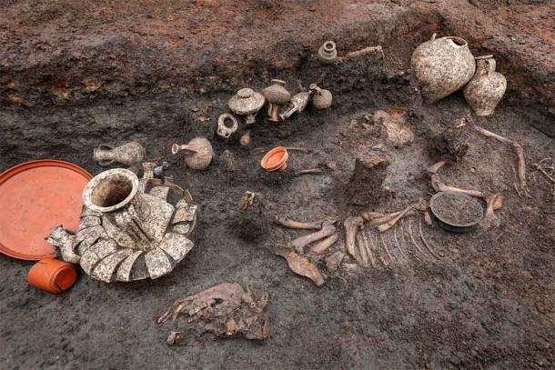 El entierro del bebé romano incluyó un esqueleto de bebé, rodeado por un perro, un cerdo, veinte jarrones de terracota y diversas ofrendas de comida y carne. (Denis Gliksman / INRAP)