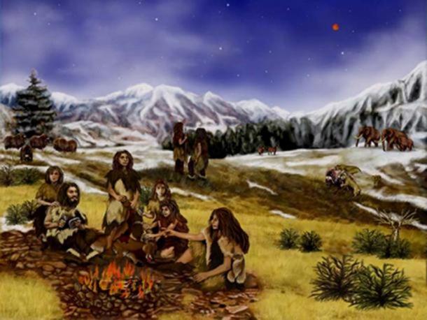 Una impresión artística de la vida neandertal. (Dominio publico)