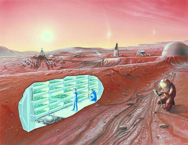 Impresión artística de un asentamiento en Marte con vista en corte. (Dominio público)
