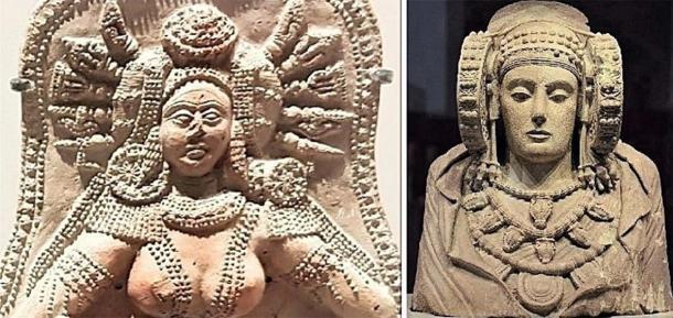 El artefacto de la diosa india de Chandraketugarh (izquierda) y el arte de la Dama de Elche (derecha). (Proporcionado por el autor)