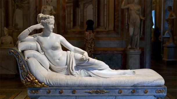 """La escultura de mármol afortunadamente intacta de Paolina Bonaparte Borghese como """"Venus Victrix"""" de Antonio Canova, en la Galleria Borghese, Roma. (CC BY-SA 4.0)"""