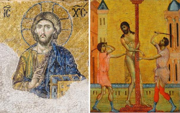 Izquierda, arte bizantino - Cristo Pantocrátor del mosaico Deesis (siglo XIII) en Hagia Sophia (Estambul, Turquía). Derecha, Renacimiento temprano La flagelación de Cristo, (parte del díptico de Cimabue circa 1280) (Dominio público)