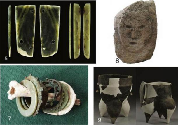 5: artículos de jade encontrados en East Gate; 7: brazaletes de jade y metal con un hueso de brazo humano hallados en un entierro; 8: cabeza humana de piedra; 9: Cerámica Shimao. (Zhouyong Sun et al.2017)