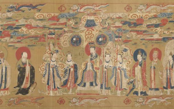 El Emperador de Jade rodeado de asistentes que cortejan al dios local, como se ve en un pergamino chino del siglo XVII. (Museo Metropolitano de Arte / Dominio público)