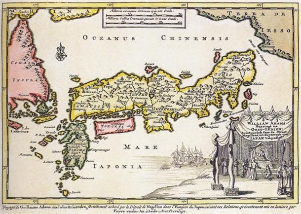 1707 mapa de Japón, con un cartucho que representa a la audiencia del samurái inglés William Adams con el shogun, Tokugawa Ieyasu. (Dominio publico)