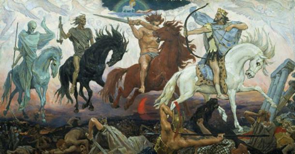 Cada uno de los Cuatro Jinetes del Apocalipsis representa diferentes aspectos de la limpieza de la tierra, por el pintor ruso Viktor Vasnetsov. (Rillke / Dominio público)