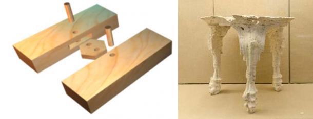 Técnica de carpintería utilizada para el casco de un barco minoico (Copyright Nik Aed) y yeso del vacío dejado por una mesa trípode minoica después de la erupción de Thera.