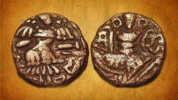 Moneda de emisión conjunta de Kshema Gupta y la Reina Didda. (Historia en vivo India)
