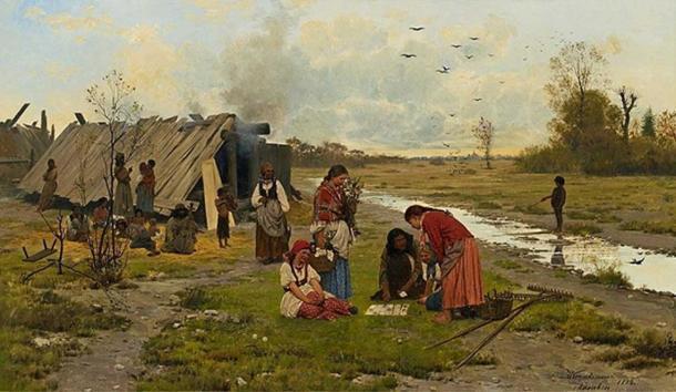 'Kartomantka'. (Dominio público) Representación de un adivino romaní en Polonia, por Antoni Kozakiewicz, 1884.