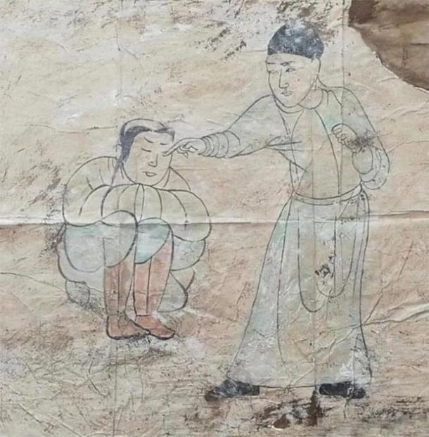 Otro de los murales de Khitan encontrados en la tumba. (CFTV)
