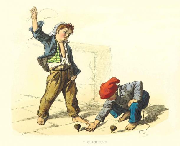 Niños de hace mucho tiempo jugando en la acera con peonzas como lo hacen hoy en varios lugares. (Mannaggia / Adobe Stock)