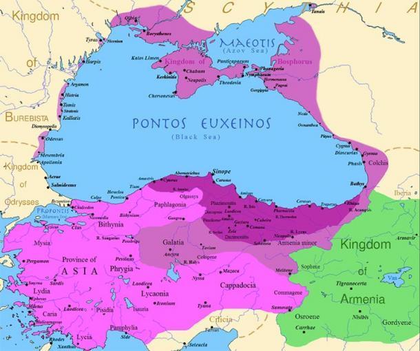 El reino de Ponto en su apogeo: antes del reinado de Mitrídates VI (púrpura oscuro), después de sus primeras conquistas (púrpura) y sus conquistas en las primeras guerras mitridaticas (rosa) (Dominio público)