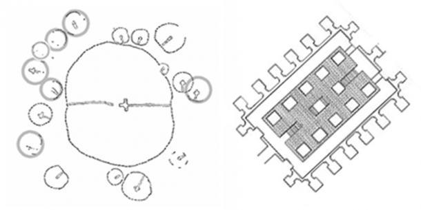 Knowth y Osirion cuentan con diecisiete cámaras auxiliares.