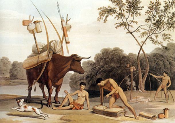 Korah-Khoikhoi desmantelando sus chozas, preparándose para mudarse a nuevos pastos. Aguatinta de Samuel Daniell. 1805. (Dominio público)