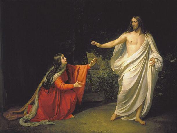 """""""La aparición de Jesucristo a María Magdalena"""" (1835) por Alexander Andreyevich Ivanov. (Dominio publico)"""