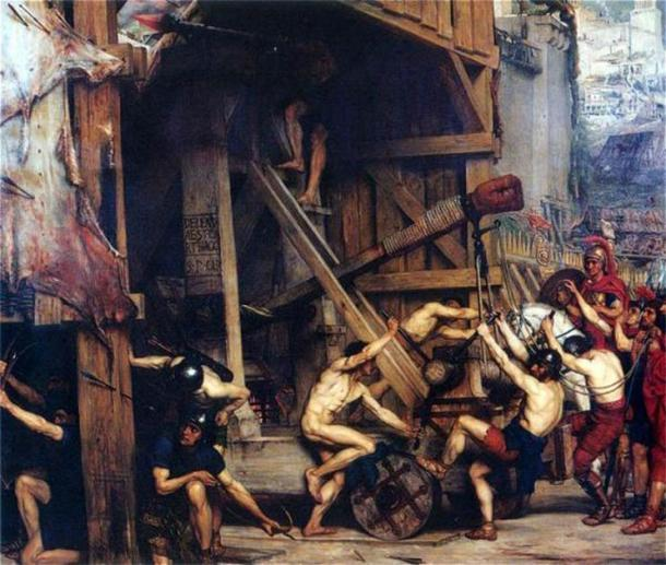 """La catapulta"" (1868) de Edward Poynter. (Dominio público)"