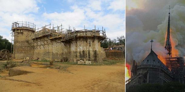 Izquierda; La construcción del castillo de Guédelon en Francia, utilizando técnicas medievales. CC BY-SA 4.0 Derecho; La aguja de madera justo antes de su colapso en el incendio de la catedral de Notre Dame. Antoninnnnn / CC BY-SA 4.0