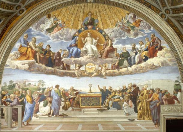 La Disputa del Sacramento en el Museo del Vaticano representa el cielo como un reino en los cielos sobre la tierra. (Erzalibillas / Dominio Público)