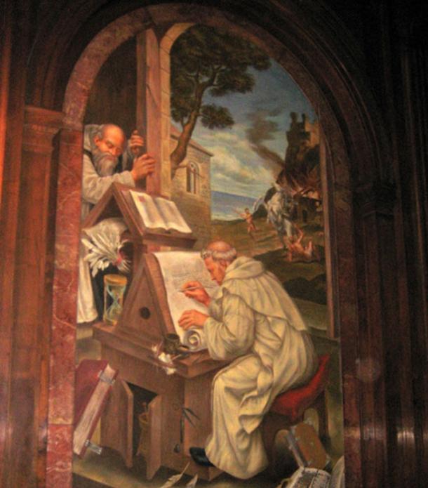 """Pintura """"La historia de la palabra grabada"""" -El escriba medieval durante el tiempo de la mano trémula de Worcester. (Wally Gobetz / CC BY-SA 2.0)"""