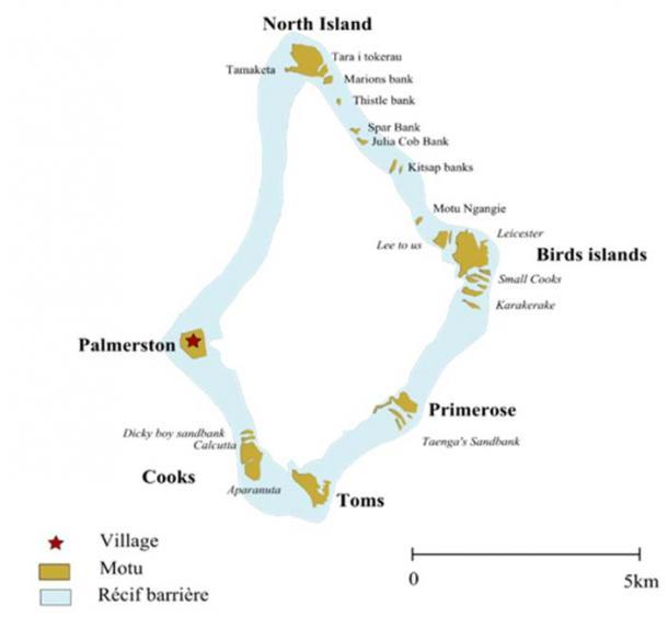 La isla Palmerston y el mapa de las Islas Cook. (Ras67 / CC BY-SA 3.0)