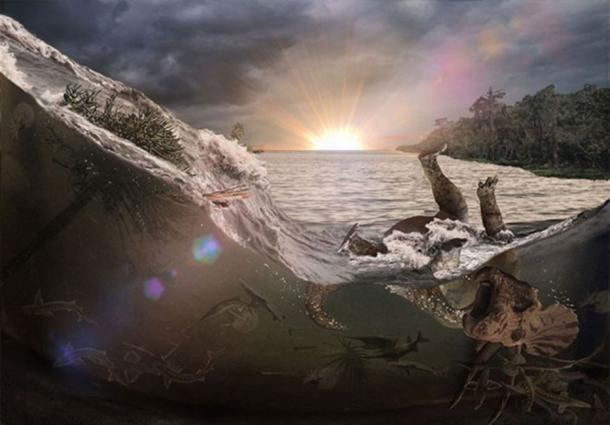 La onda de choque sísmica habría provocado una oleada de agua conocida como un seiche. (Robert DePalma/ La Universidad de Kansas)