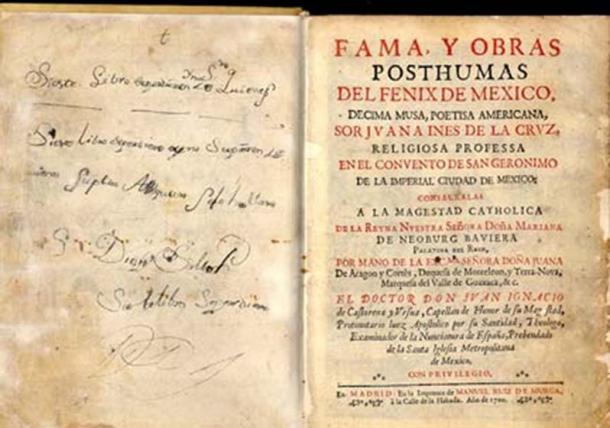 La primera parte de las obras completas de Juana Inés de la Cruz, Madrid, 1689. (Donn Q / Dominio público)