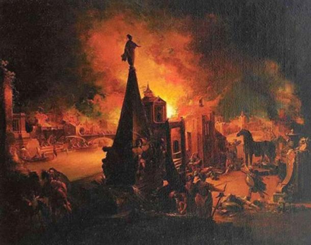 """""""La quema de Troya"""" (1759/62) de Johann Georg Trautmann. (Dominio publico)"""