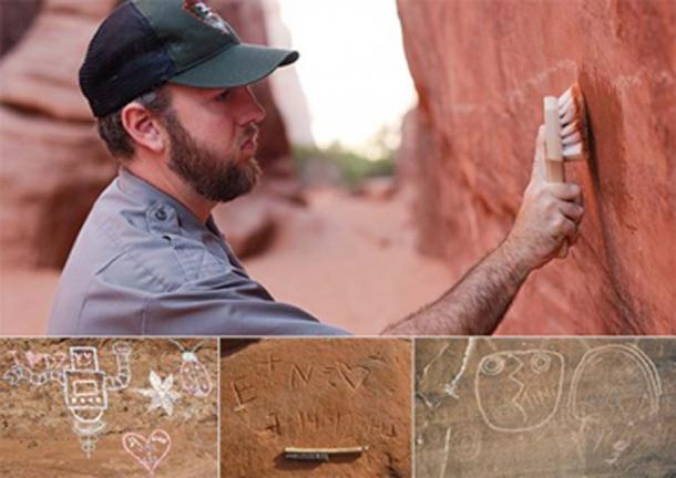 La tiza, el tallado y el rascado son todo tipo de graffiti en las formaciones rocosas del parque. Dependiendo del daño, puede llevar una gran cantidad de trabajo eliminarlo. (NPS / Dominio público)