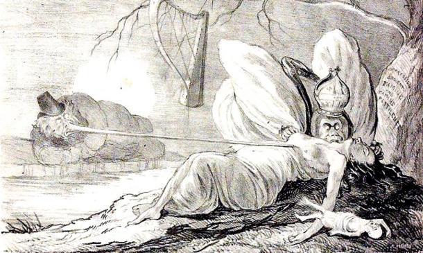Ilustración extraida de ''The Natural History of Two Species of Irish Vampire'' (Dominio Público)