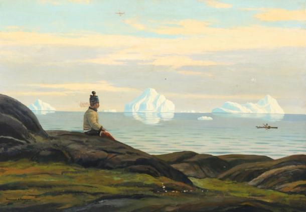 Paisaje de Groenlandia con mujer Inuit mirando al mar por Emanuel Petersen. (Dominio público)