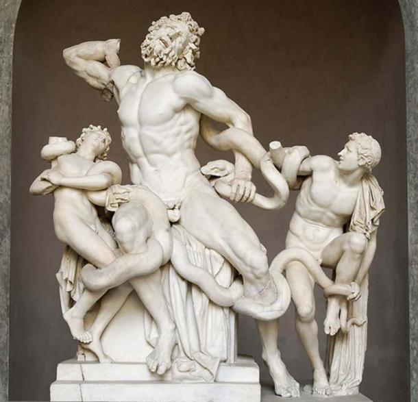 Laocoön y sus hijos, también conocido como Grupo Laocoön. Mármol, copia de un original helenístico de ca. 200 a.C., encontrado en las Termas de Trajano, 1506. (Dominio público)