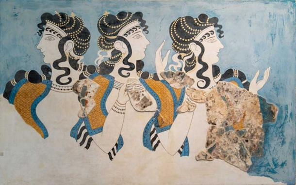 Las famosas damas en azul pintura que alguna vez adornaron las paredes del palacio de Cnosos. (Ioannis Syrigos)