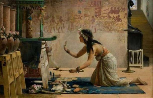 Las obsequias de un gato egipcio, John Reinhard Weguelin, 1886. (Dominio público)