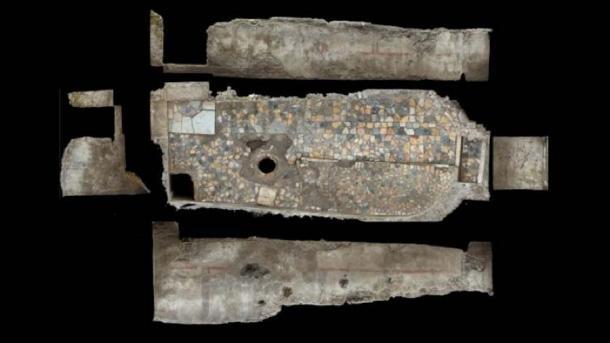 """El escaneo láser muestra el """"spelaeum"""", la habitación más importante en el Mitraeum, que tiene un piso de mármol decorado en una variedad de colores. Un pozo ritual también se puede ver en la habitación. (D. Abate / Live Science)"""
