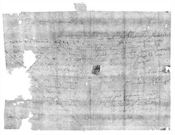 Letterpacket DB-1627 fue virtualmente desplegado y leído por primera vez desde que fue escrito hace 300 años. La carta contiene un mensaje de Jacques Sennacques fechado el 31 de julio de 1697 a su primo Pierre Le Pers, un comerciante francés, para obtener una copia certificada de un aviso de defunción de un tal Daniel Le Pers. (Crédito: Desbloqueo del grupo de investigación de historia)