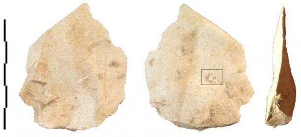 Escama de Levallois con el fragmento de cordón adherido. (M.-H. Moncel / CC BY 4.0)