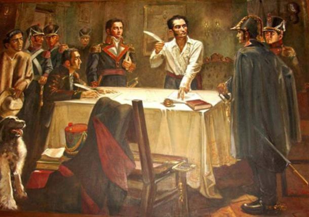 """El Libertador Simón Bolívar firma el """"Decreto de Guerra a la Muerte"""" (Dominio Público)"""