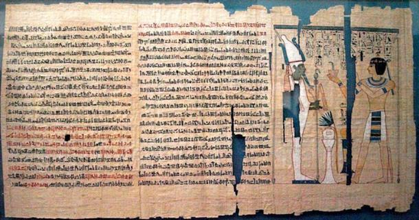 Parte del Libro de los Muertos de Pinedjem II. El texto es hierático, excepto los jeroglíficos en la viñeta. (Captmondo / CC BY-SA 3.0)
