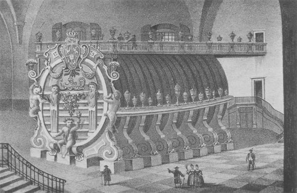 Litografía, que data de 1840 del barril de vino gigante de Königstein con una capacidad volumétrica de 238,000 litros (Dominio público)