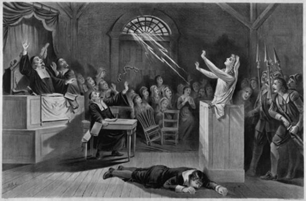Litografía de 1892 que muestra la histeria en los juicios de brujas de Salem (dominio público)