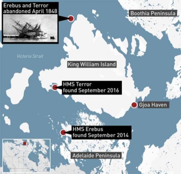 Ubicación de los restos de HMS Erebus y HMS Terror. (CBC News/Parks Canada)