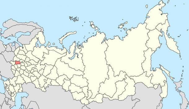 Ubicación de Kaluga Oblast en Rusia, donde los investigadores afirman haber encontrado un tornillo de 300 millones de años (Wikipedia)